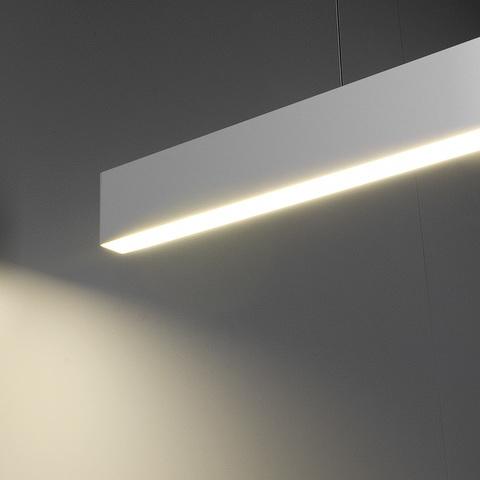 Линейный светодиодный подвесной односторонний светильник 128см 25Вт 6500К матовое серебро 101-200-30-128
