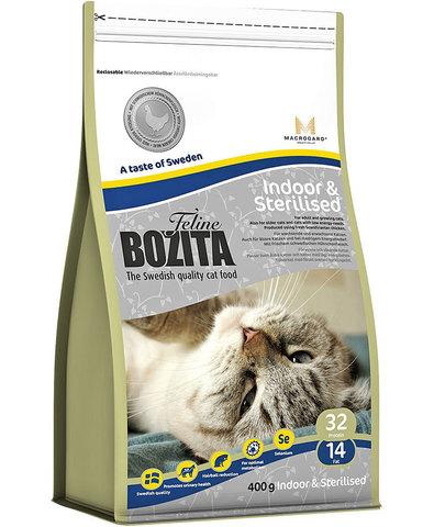 BOZITA Feline Indoor & Sterilised сухой корм для растущих, взрослых и малоподвижных кошек 400 г