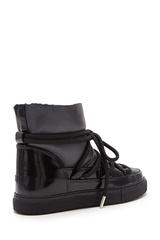 Высокие комбинированные кеды INUIKII 70202-6 Sneaker Gloss  Black  на меху