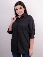 Дакота. Оригинальная женская рубашка больших размеров. Черный.