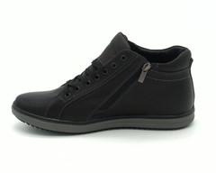 Черные кожаные полуботинки на сплошной подошве