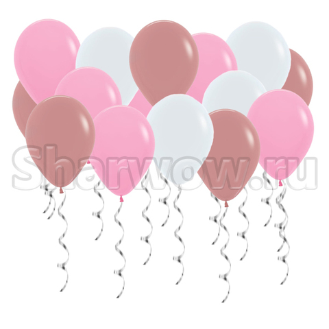 Воздушные шары под потолок Нежно-розовые ассорти персик