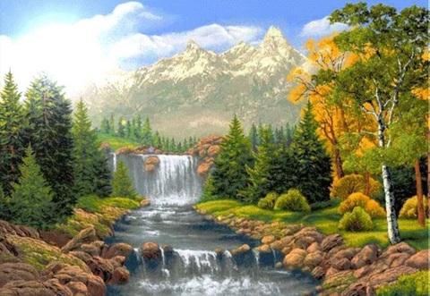 Алмазная Мозаика 30x40 Водопад в лесу (арт. S3250)