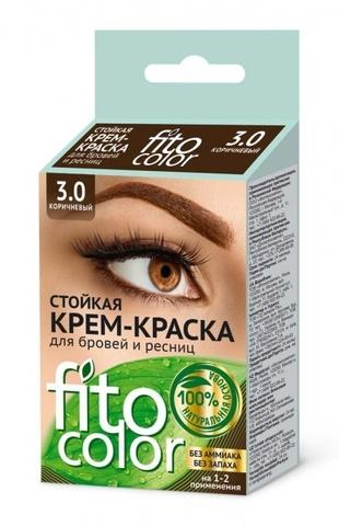 FITOкосметик Стойкая крем-краскаКОРИЧНЕВЫЙ д/бровей и ресниц (2прим)2х2мл, Fitocolor