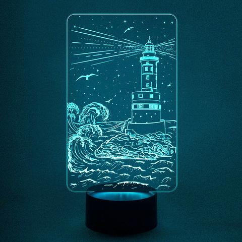 Светильник маяк и волны