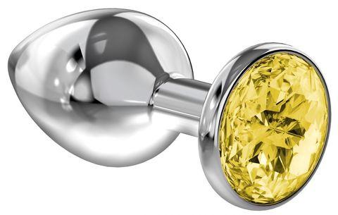 Малая серебристая анальная пробка Diamond Yellow Sparkle Small с жёлтым кристаллом - 7 см.