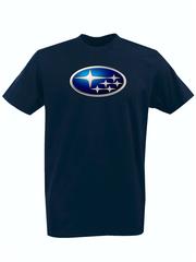 Футболка с принтом Субару (Subaru) темно-синяя 002