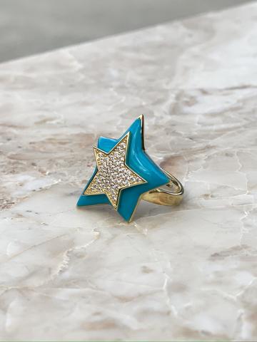 Кольцо Звезда из позолоченного серебра с голубой эмалью