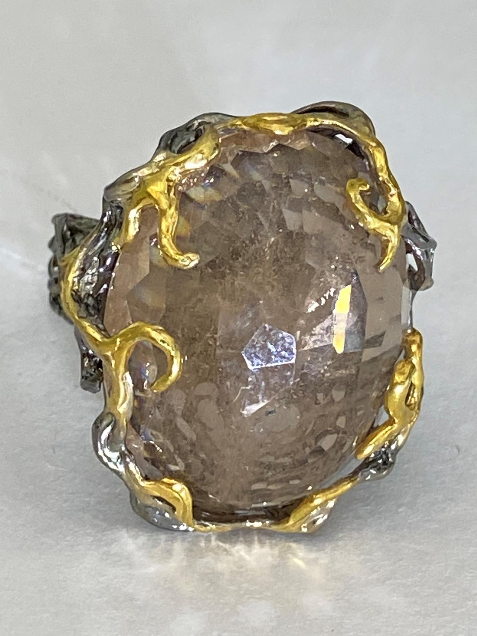 Рашель-топаз (серебряное кольцо с позолотой)