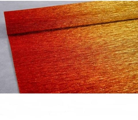 Гофрированная бумага металл с переходом цвет 801/1 красно-золотой, 180г, 50х250 см, Cartotecnica Rossi (Италия)