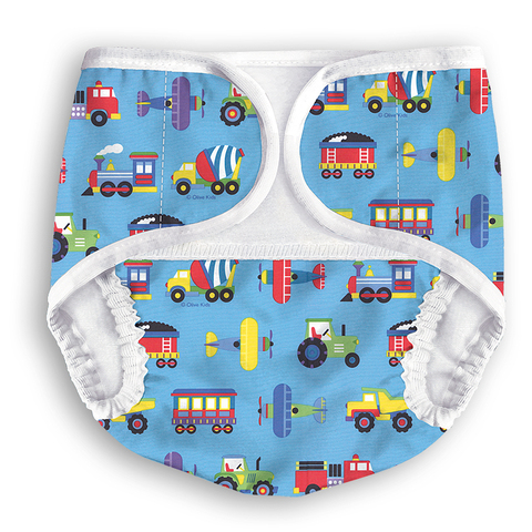Многоразовые подгузники-трусики Multi-Diapers Lights синий транспорт