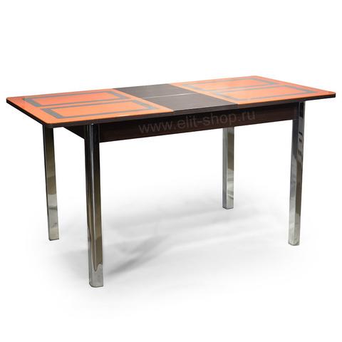Стол НИЦЦА-1 Оранжевый / рис. 1 / подстолье венге / опора хром / 110(142)х70см
