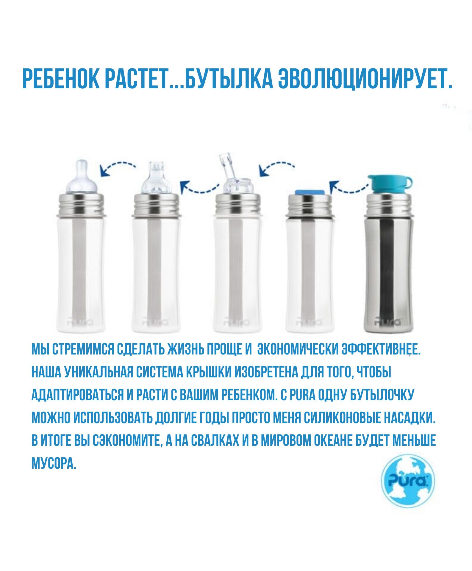 Стальная спортивная бутылочка Pura Kiki 325 мл