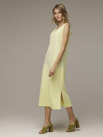 Женское желтое платье без рукава из хлопка - фото 2