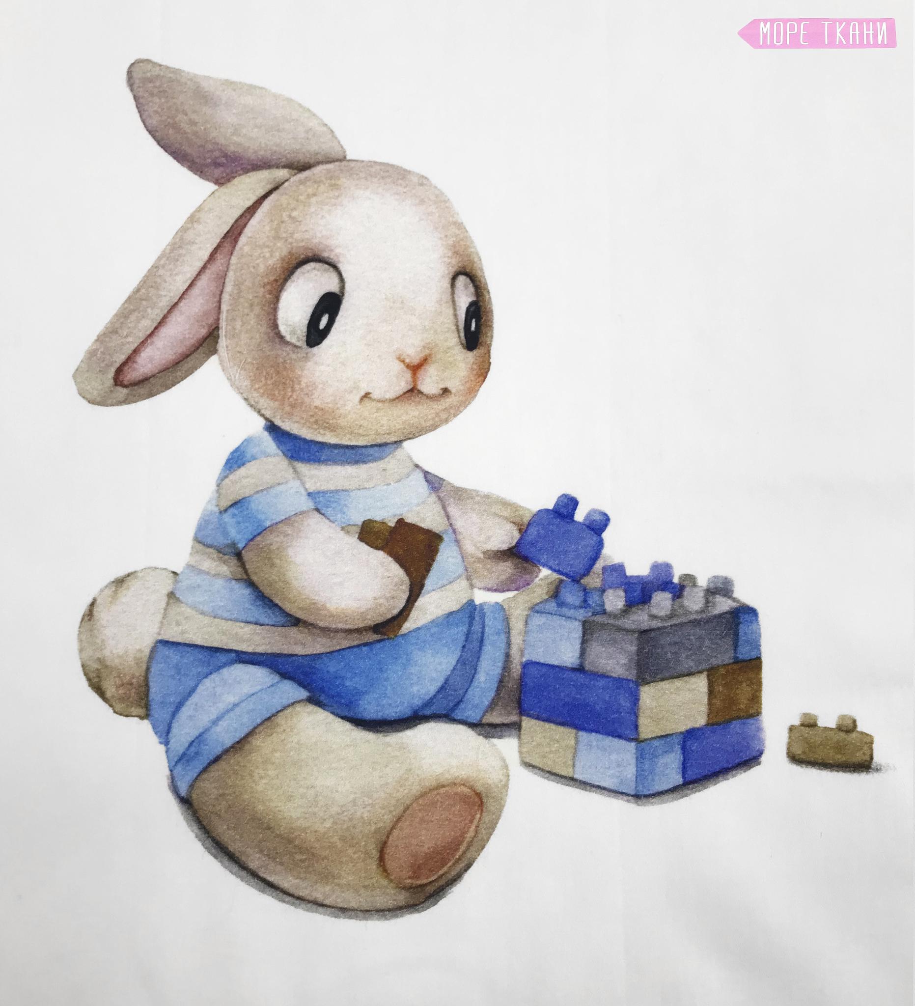 Панель(купон) зайчик с игрушками-35*35 см, 4 шт.