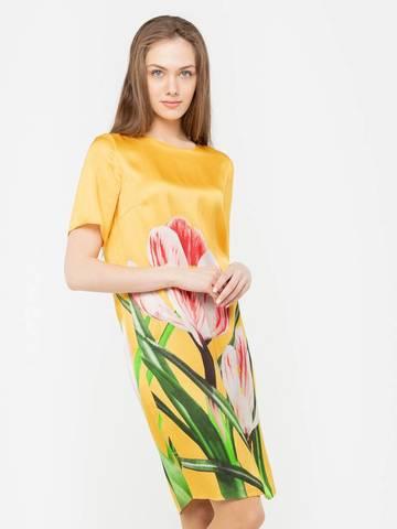 Фото желтое платье-туника с рукавами и авторским принтом - Платье З162-555 (1)