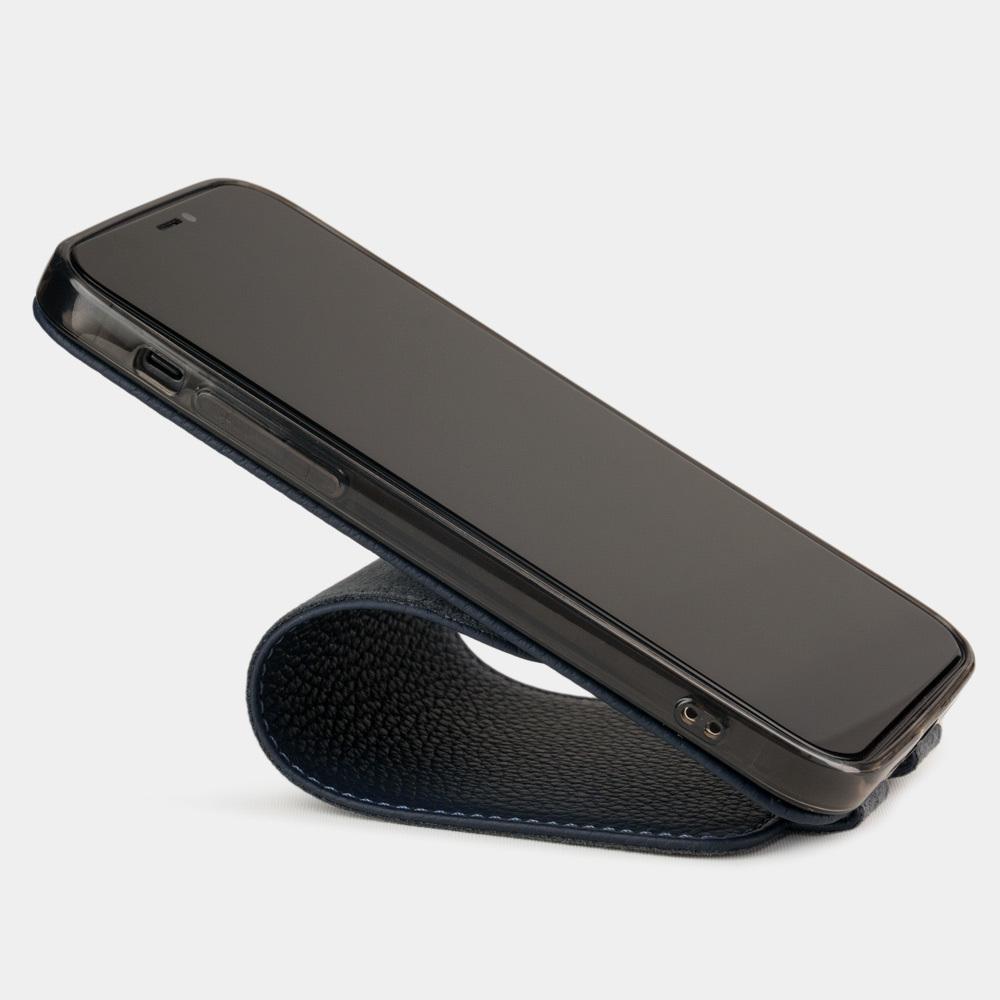 Чехол для iPhone 12/12Pro из натуральной кожи теленка, цвета синий мат