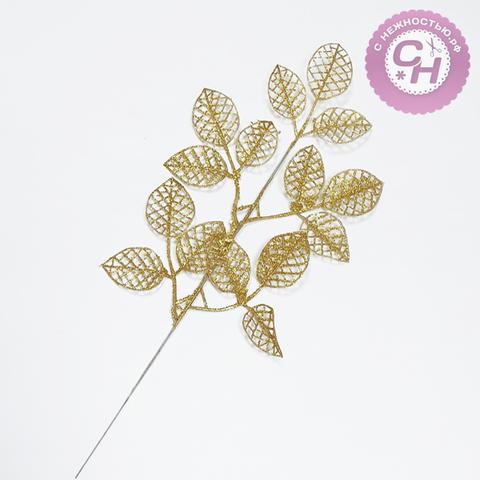 Листочки пластиковые с блестками на ветке, 47*19 см, 1 шт.