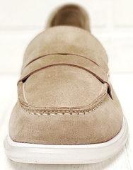 Бежевые замшевые лоферы туфли с квадратным носом женские Anna Lucci 2706-040 S Beige.