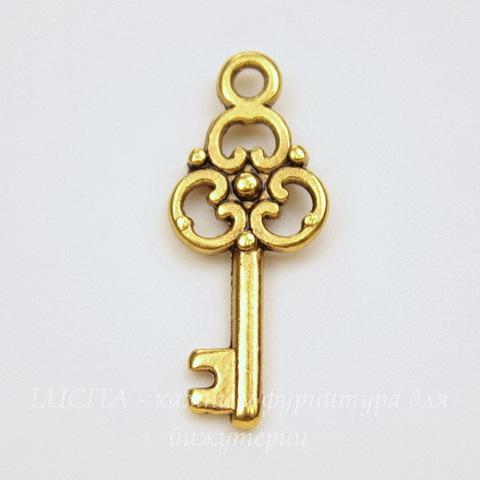 "Подвеска ""Ключик"" 23х10 мм (цвет - античное золото)"