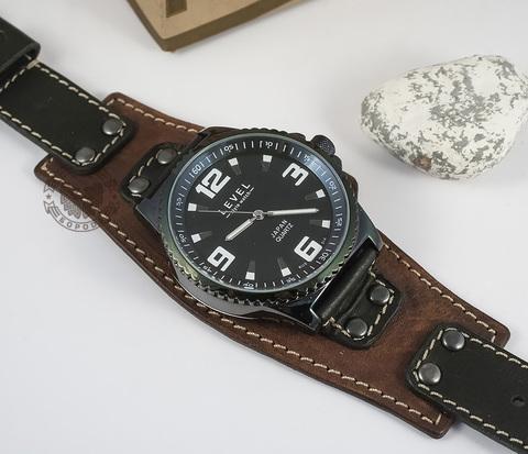 WLS128 Ремешок для часов ручной работы из черной и коричневой кожи