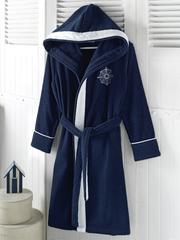 Женский махровый халат MARINE LADY тёмно-синий
