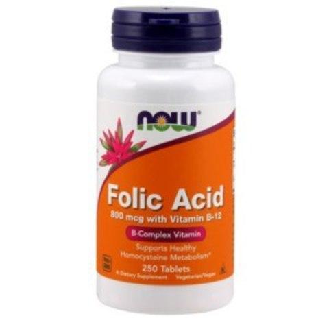 Фолиевая кислота, 800 мкг, 250 таблеток Now Foods