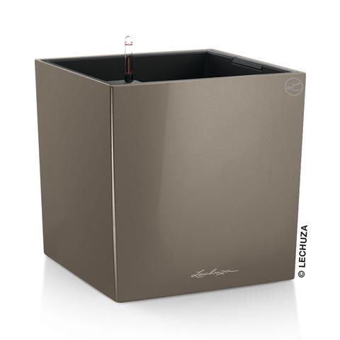16365 Кашпо LECHUZA Кьюб 40 Серо-коричневый блестящий с системой полива