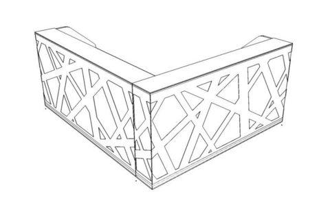 Стойка ресепшн угловая с боковыми панелями и LED подсветкой