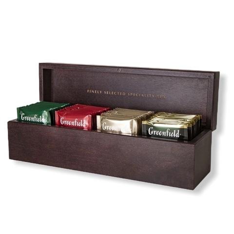 Greenfield ГРИНФИЛД Подарочный набор в деревянной шкатулке 4 вида, пакетированный, 32 пакетика, по 8 каждого вида
