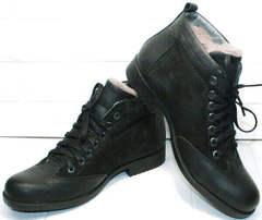 Классические ботинки мужские зимние кожаные классические Luciano Bellini 6057-58K Black Leathers & Nubuk.