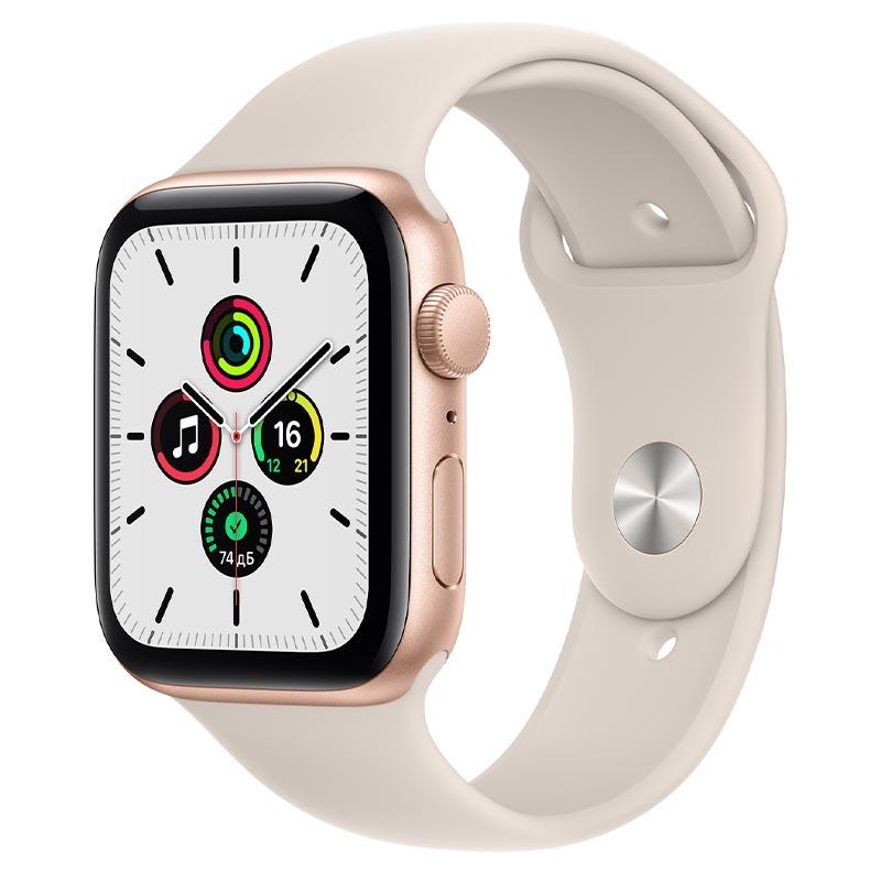 Apple Watch SE, GPS, 44 мм, алюминий золотого цвета, спортивный ремешок цвета «Сияющая звезда»