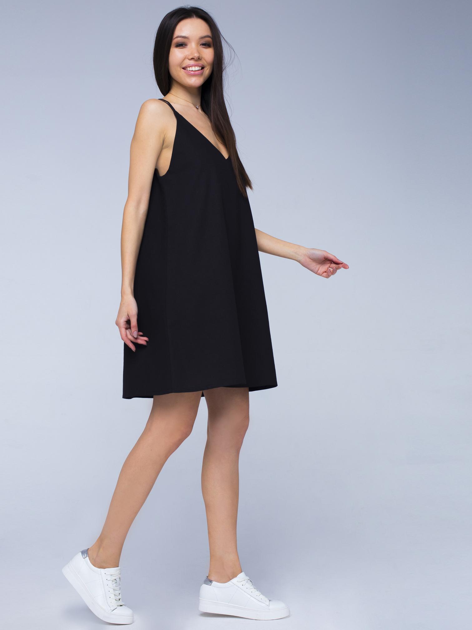 Платье черное льняное с открытой спинкой мини