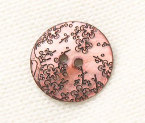 Пуговица перламутровая круглая розовая с серыми цветами, 22 мм