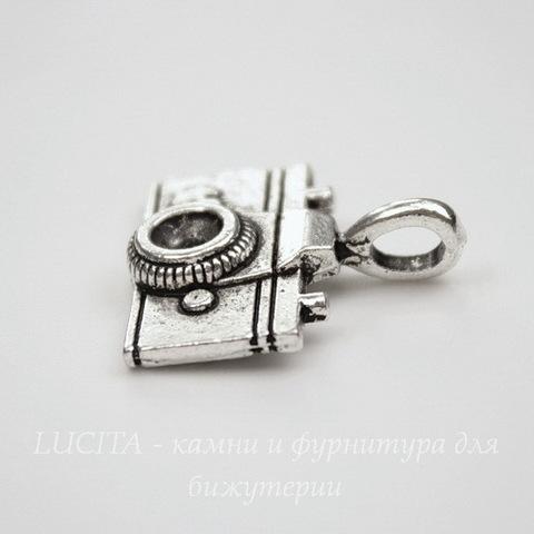 "Подвеска 3D ""Фотоаппарат"" (цвет - античное серебро) 22х21 мм"