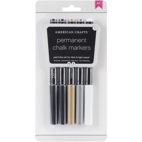Набор меловых маркеров American Crafts DIY Shop Permanent Chalk Markers- Black, Gold, Silver & White- 5шт.