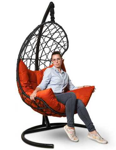 Подвесное кресло-кокон БАРСЕЛОНА + каркас + оранжевая подушка