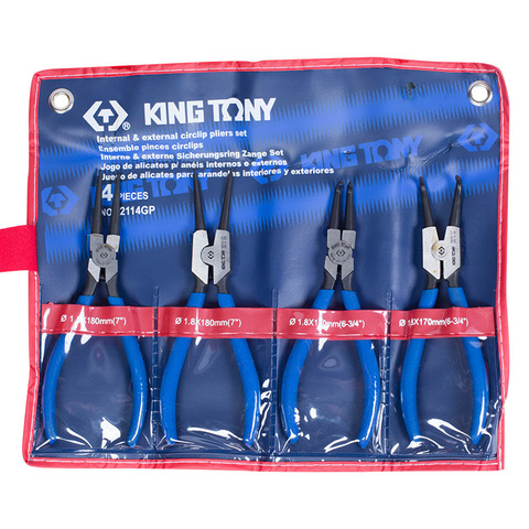 KING TONY (42114GP) Набор съемников стопорных колец, 4 предмета