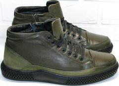 Теплые зимние мужские ботинки кэжуал термо Luciano Bellini BC2803 TL Khaki.