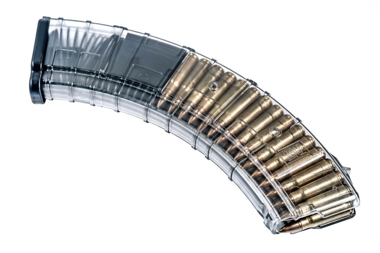 Магазин Pufgun для АК/Сайга/ВПО-133 7.62x39 на 40 патронов, прозрачный