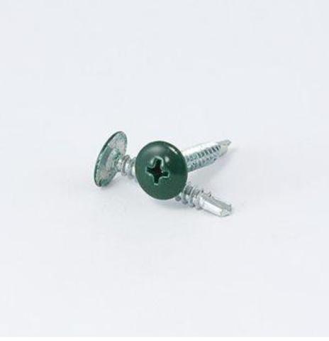 Саморез с пресс-шайбой со сверлом зеленый RAL 6005 4,2х16 (25шт)