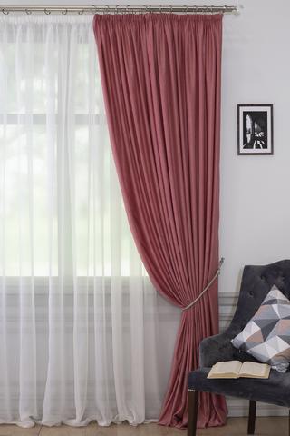 Готовая штора Адель софт темно-розовый