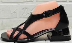Кожаные сандали босоножки женские на каблуке Evromoda 166606 Black Leather.