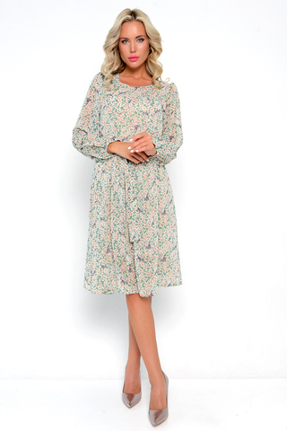 <p>Роскошь, элегантность и утонченность-все это о нашем платье из новой коллекции. Изящное платье из воздушной ткани. Талия и рукав на резике. Платье без застежки, на подкладе с поясом. <span>&nbsp;Длина :101см.</span></p>