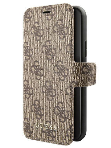 Guess / чехол для телефона iPhone 11 | 4G collection Booktype Brown/Black