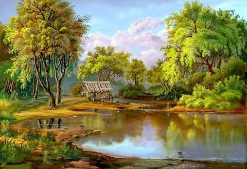 Алмазная Мозаика 30x40 Деревенская природа (арт. X139)
