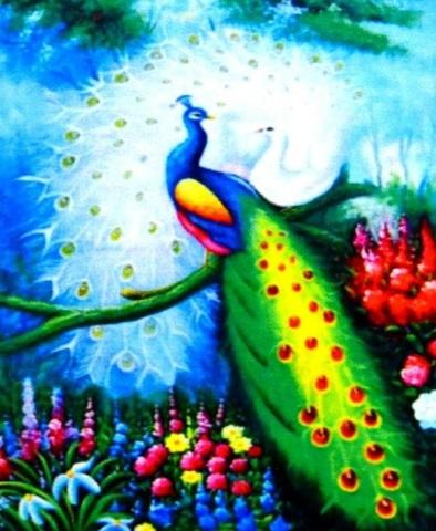 Алмазная Мозаика 40x50 Пара разноцветных павлинов на ветке (арт. S068)