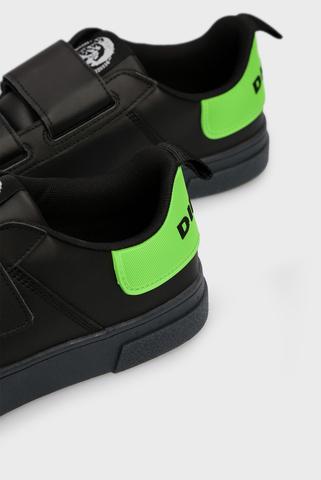 Мужские черные кожаные сникеры CLEVER Diesel