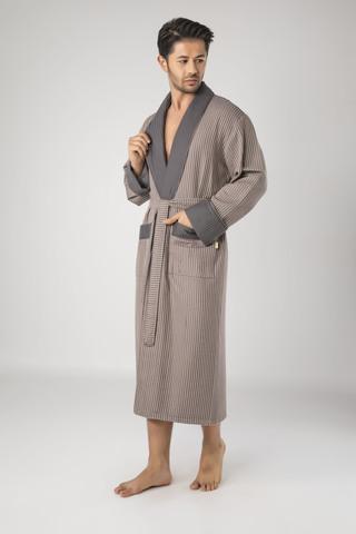 Бамбуковый  мужской вафельный халат 15120-1 коричневый  NUSA Турция