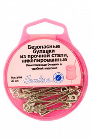 Безопасные булавки в пластиковом контейнере, 32шт., Hemline. (Арт. 410.99/G002)